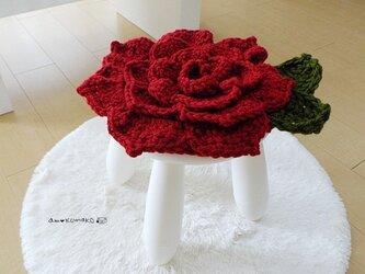 薔薇のチェアパッドの画像