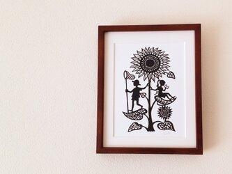 花の切り絵「ひまわり」の画像