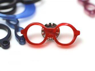 メガネピンズ(丸メガネ、Sサイズ、短針、赤)の画像