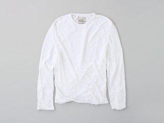 リネンニット mens/M 長袖プルオーバー(ホワイト)の画像