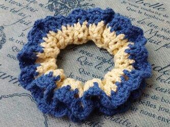 115*【再販*受注製作】小さめかわいい 手編みのシュシュ ゴム入れ換え可能の画像