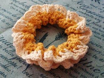 116*【再販*受注製作】小さめかわいい 手編みのシュシュ ゴム入れ換え可能の画像