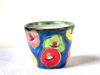スマイル・カメリア(青)の色絵フリーカップの画像