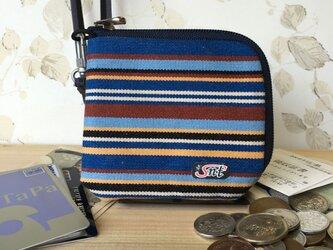 お洒落で機能的!旅に便利な、カード・お札・コイン用 先染め帆布財布 紺系生地 紺ファスナーの画像