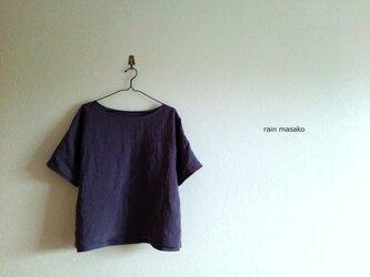 灰紫リネンの肩落ちTシャツ*フリーサイズの画像