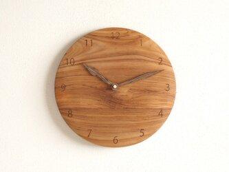 掛け時計 丸 チーク材13の画像