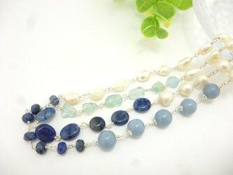 【再販】sv925 ブルーアベンチュリン&淡水パール*ロングネックレスの画像
