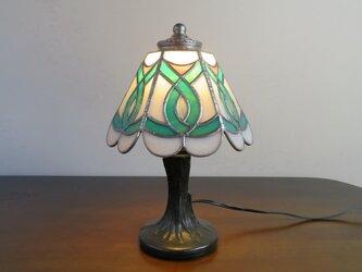 エメラルドグリーン (ステンドグラスランプ) ガラス照明・ガラス Mサイズ・4の画像