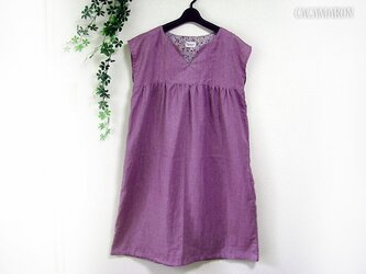 M~L キーネックワンピース Wガーゼ紫の画像