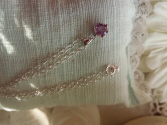 宝石質ピンクアメジストブリリアントカットペンダントSilver925製 の画像
