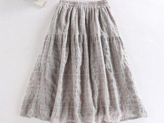 f047(再販)綿麻チェック柄 裏地付き ポケット付き 夏のスカートの画像