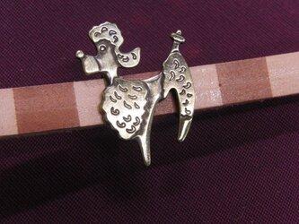 真鍮ブラス製 ビンテージ調帯締めを走るプードル犬型風の帯留め 着物や浴衣の帯締め飾りにの画像