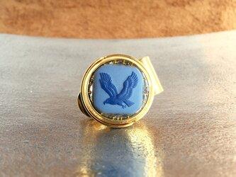 ゴルフマーカー[イーグル]紺×ブルーの画像