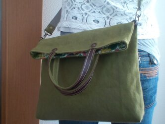 SOLD OUT大人かわいい リネン混紡生地と革のリバティバッグの画像