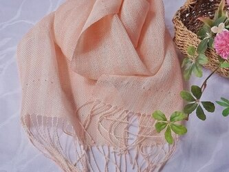 手織miniストール*ピンクストライプの画像