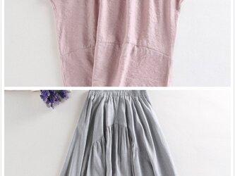 f043 f048(再販4)夏の販促セール お得なブラウス+スカート セットアップの画像