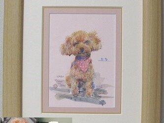 ペットの肖像画 水彩画(インチ判)オーダーメイドの画像
