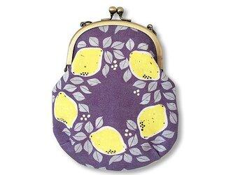 オリジナルテキスタイル「レモンのリースNavy」のガマグチポーチの画像