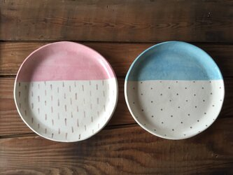 two-tone plate ーpink&blueーの画像