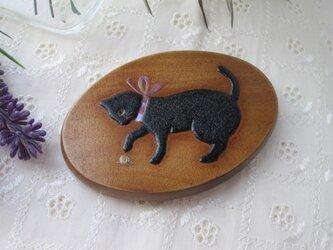 蒔絵手鏡 黒猫とカタツムリの画像