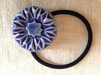 ヘアゴム 薬師草の花 青の画像