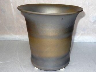 ラン鉢2、受け皿付き(園芸)銅系のメタリック釉の画像