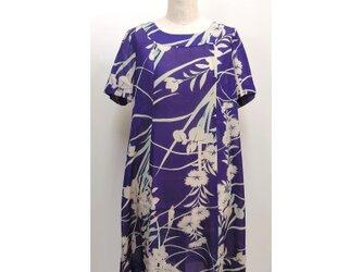 紫絽フレアーチュニック(着物リメイク)(絹/シルク)(夏)[tunC9]の画像