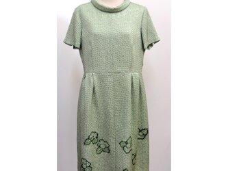 絞り染め ロールカラーワンピース(着物リメイク)(半袖)(絹/シルク)[opJ1]の画像