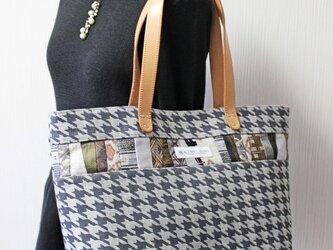 博多織×デニムトートバッグ「連」L 千鳥格子柄×レザー(LT-13)の画像