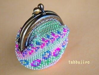 ビーズ編みがま口 レース&ビーズmixの画像