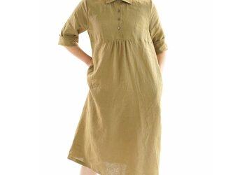 【wafu】薄地 雅亜麻 リネン ワンピース カッタウェイ シャツ 襟 フロント ギャザー / 黄橡色 a031a-kib1の画像