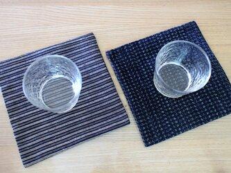 ヴィンテージ着物のコースター 麻絹と久留米絣コンビ 二枚セット古民家でお茶をの画像