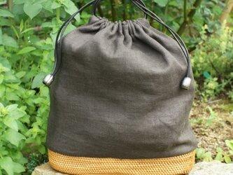 リネンバリ籠バッグの画像