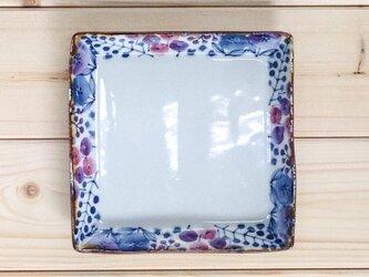 正方形トレー ガーデン柄(ブルー)の画像