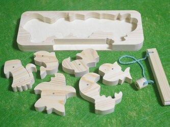 送料無料 木のおもちゃ 組み木の魚釣りの画像