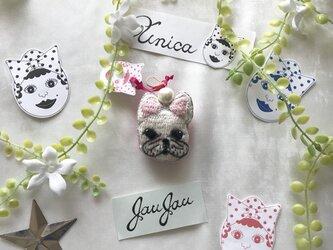 フレンチブルの刺繍パールピアス≪Pierced earrings[jaujau]P-0003≫の画像