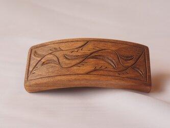 #3 チップカービングバレッタ 【木工彫刻】の画像