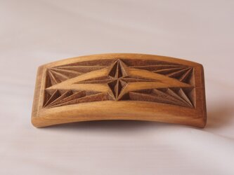 #5 チップカービングバレッタ 【木工彫刻】の画像