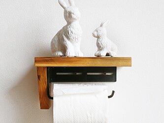トイレットペーパーホルダー 無垢材アンティーク雑貨 【カラー:2カラー】の画像