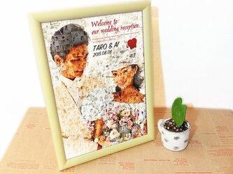 A4★今だけ価格★世界に一つのモザイクポスター★ウェディング★額縁付★飾りやすいサイズの画像