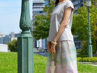 .:.*.:.デジタルプリントチュールスカート・ピンク×グリーン.:.*.:.の画像