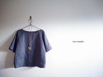 スチールグレーリネンの布帛Tシャツ*胸ポッケの画像