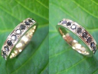 結婚指輪 手作り(鍛造&彫金)K18 イエローゴールド 大粒ブラックダイヤ エタニティリングの画像