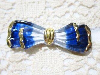 【チェコ】リボンのガラスボタン ブルーの画像