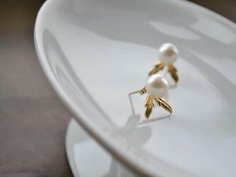 【k14gf】-リーフ-2way pierced earring【受注製作】の画像