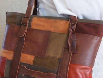 送料無料:パッチワークミリタリー調トートバッグの画像