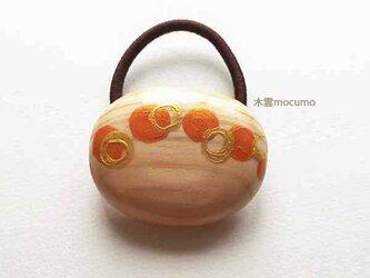ヘアゴム *ドット 橙+金 楕円*の画像