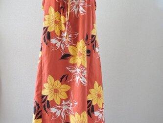 浴衣リメイク:オレンジ・黄色い花の夏ワンピ-スの画像