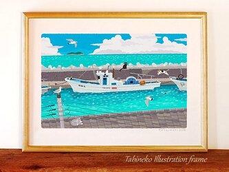 たびねこイラストフレーム-22 夏の堤防の画像