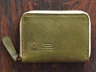 JAPAN LEATHERの馬革コインケース【オリーブ】 小さなお財布 名入れできますの画像